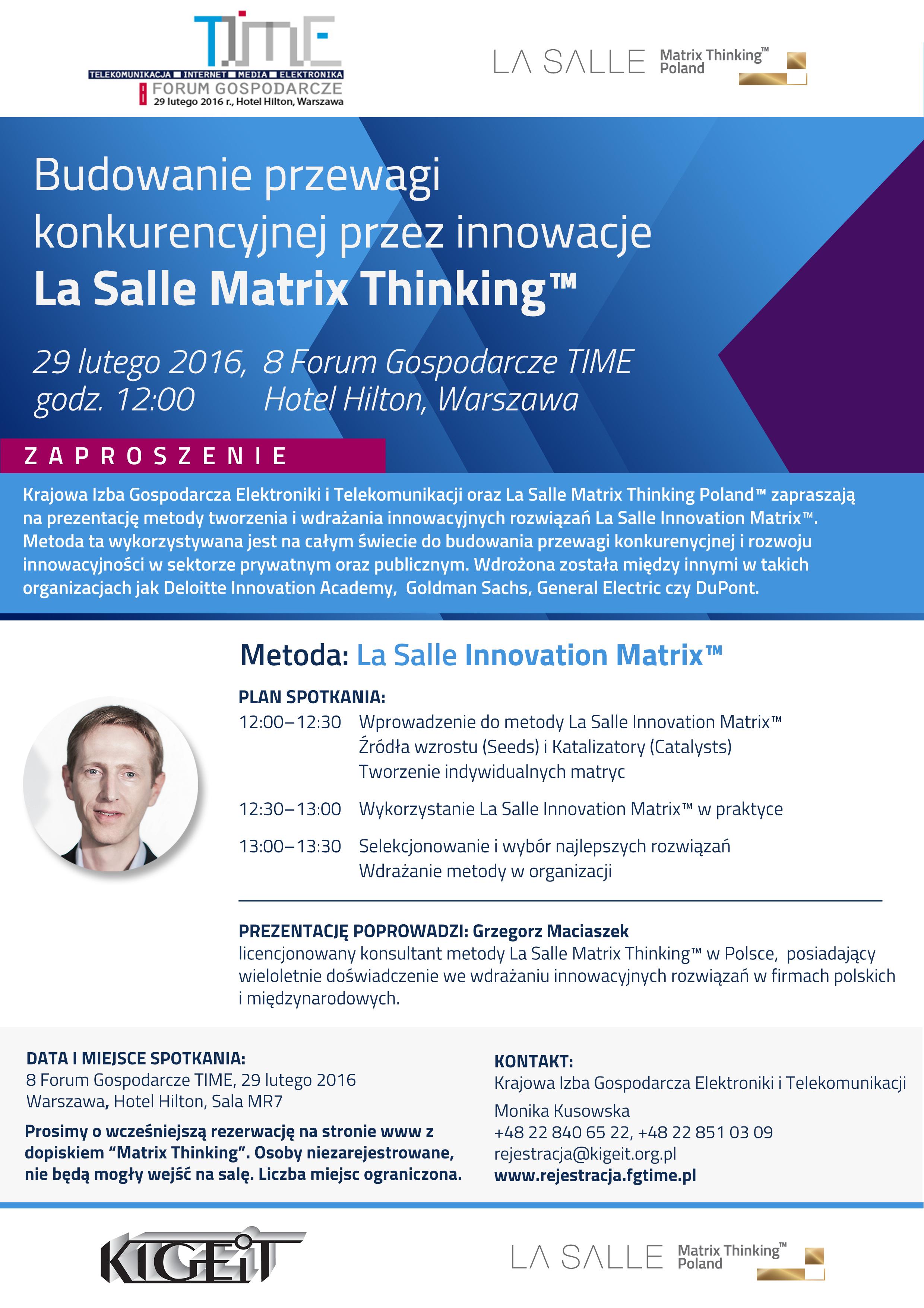 Forum Gospodarcze TIME. Zaproszenie La Salle Matrix Thinking