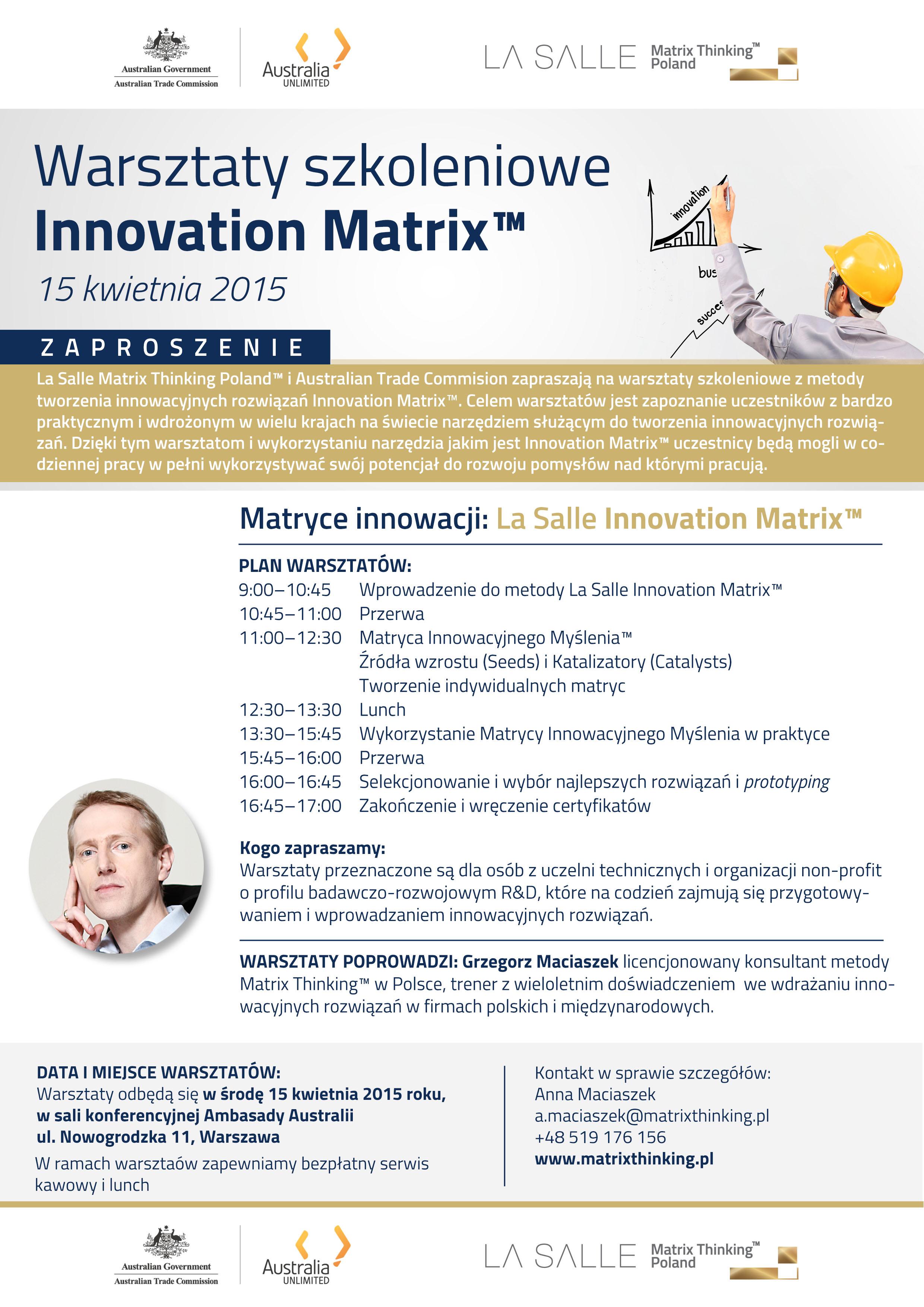 Zaproszenie na warsztaty szkoleniowe. Innovation Matrix